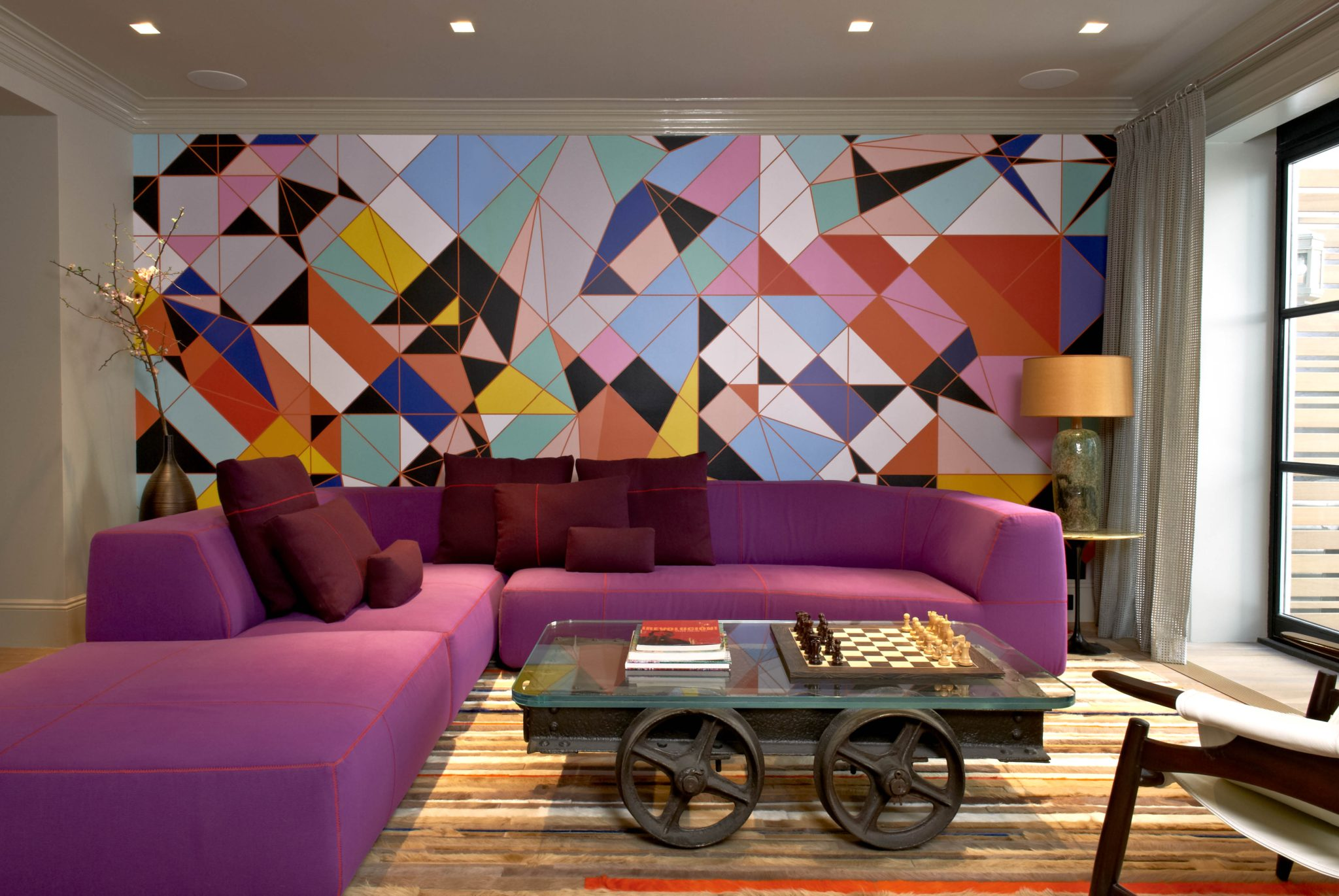 Park Slope Contemporary Interiors with Mohair sofa and Sarah Morris wallpaper by InSpace NY Design