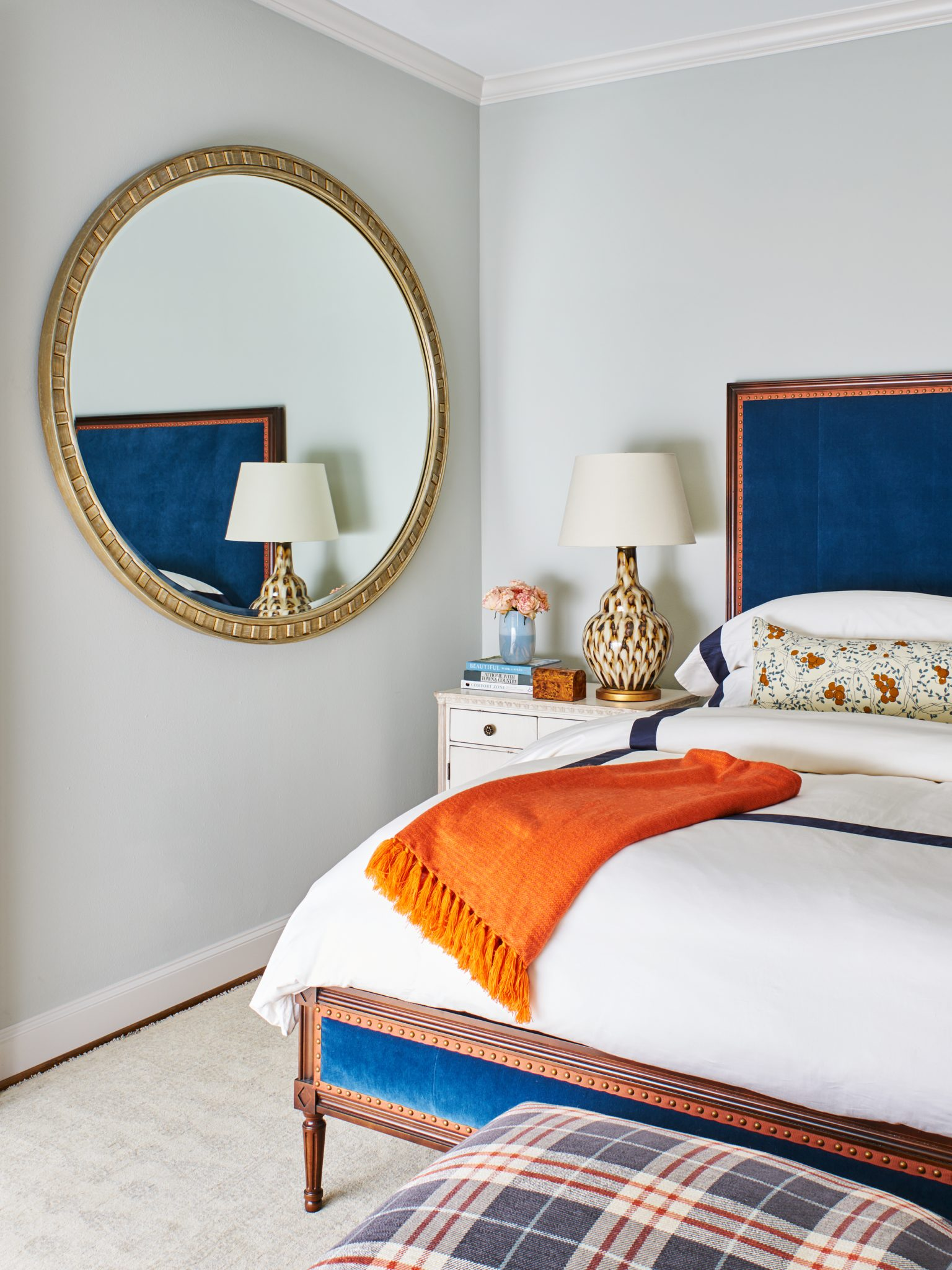 Sleek Master Bedroom with Upholstered Bed by Denise McGaha Interiors