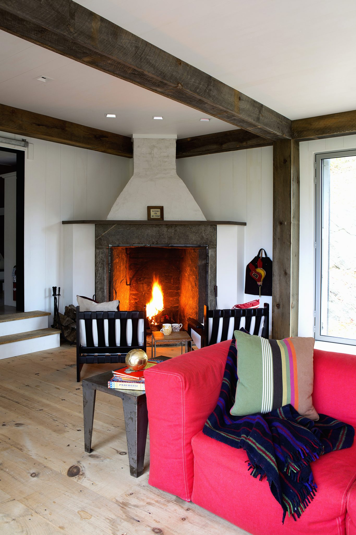 Connecticut Farmhouse, Cozy Family Room and Fireplace by Douglas C. Wright Architects