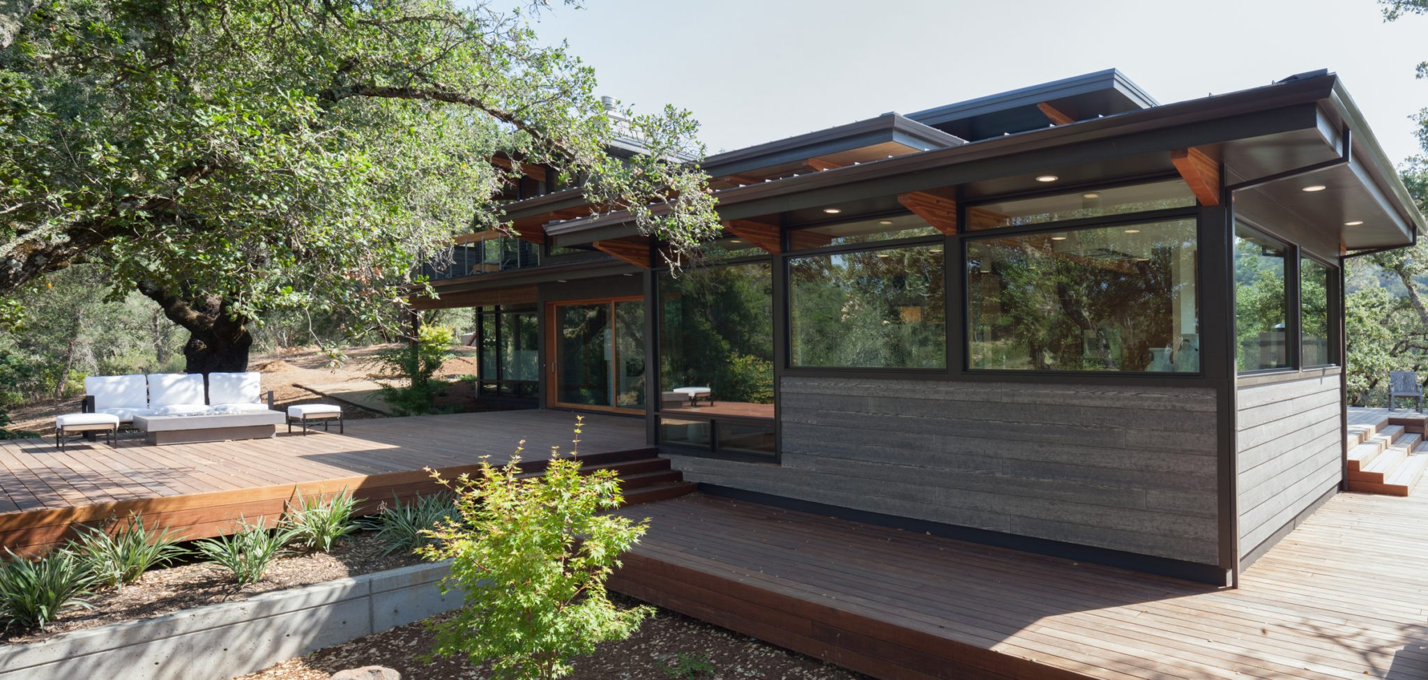 The house features a stunning, contemporary exterior design.