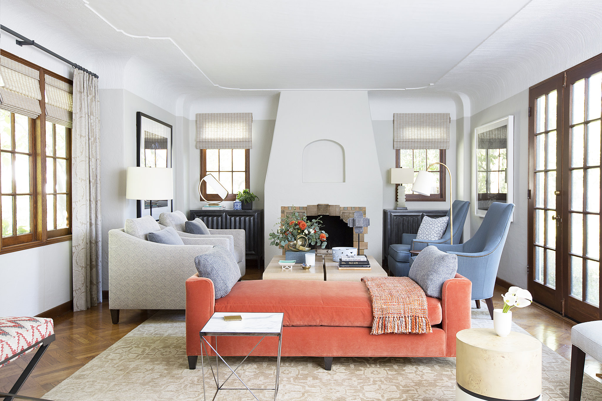 1920s Palo Alto Tudor, Living Room by Melinda Mandell Interior Design
