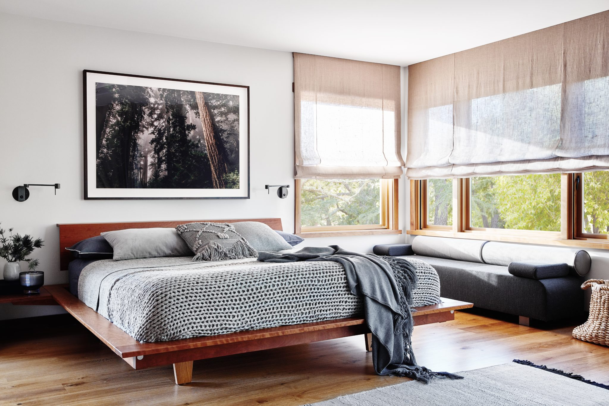 Soulful Home Master Bedroom - Thos. Moser's Edo Bed with organic bedding by Staprans Design