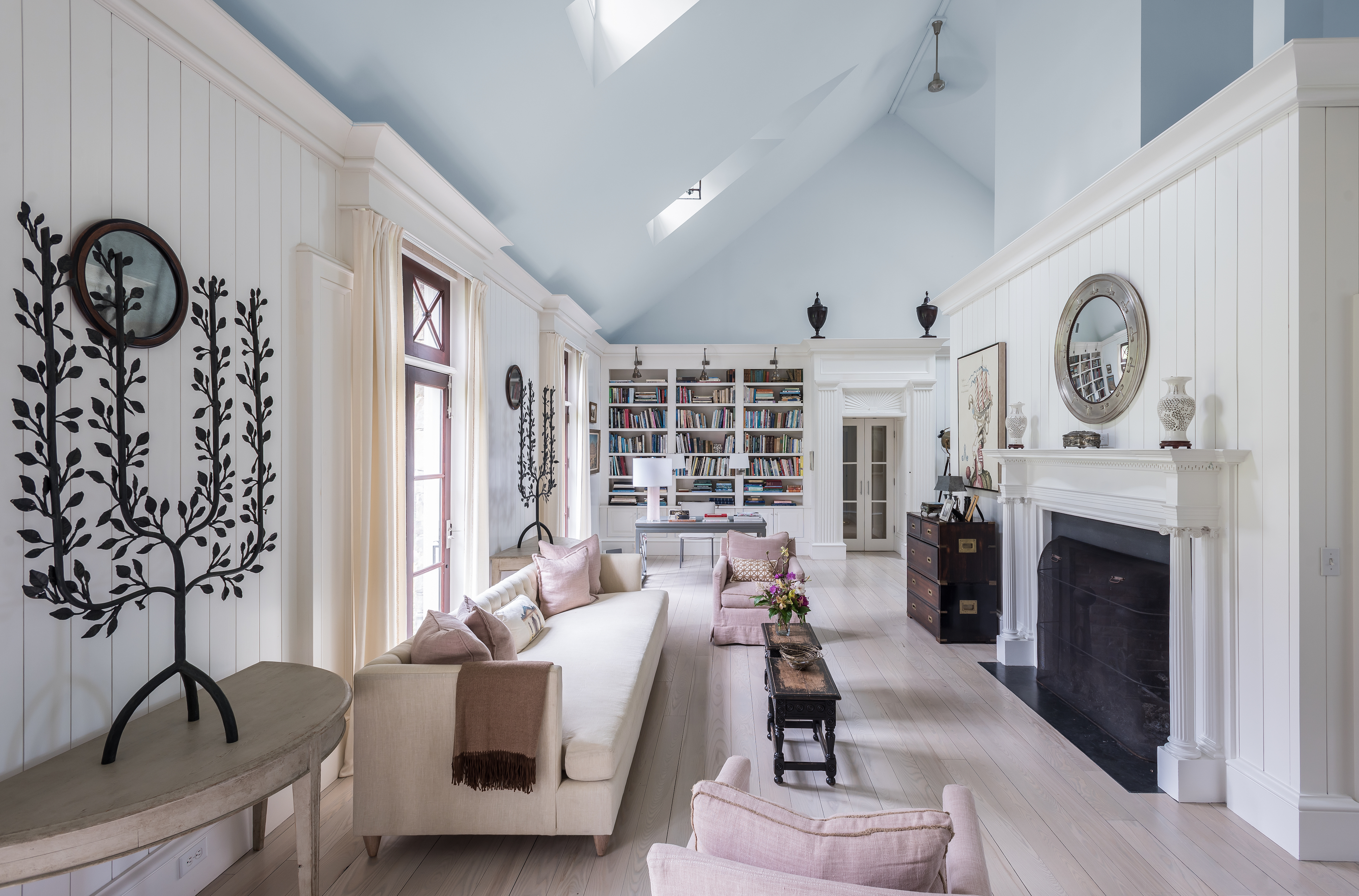 Open concept great room at Luxe Barn, Falmouth, by Banks Design Associates Ltd.