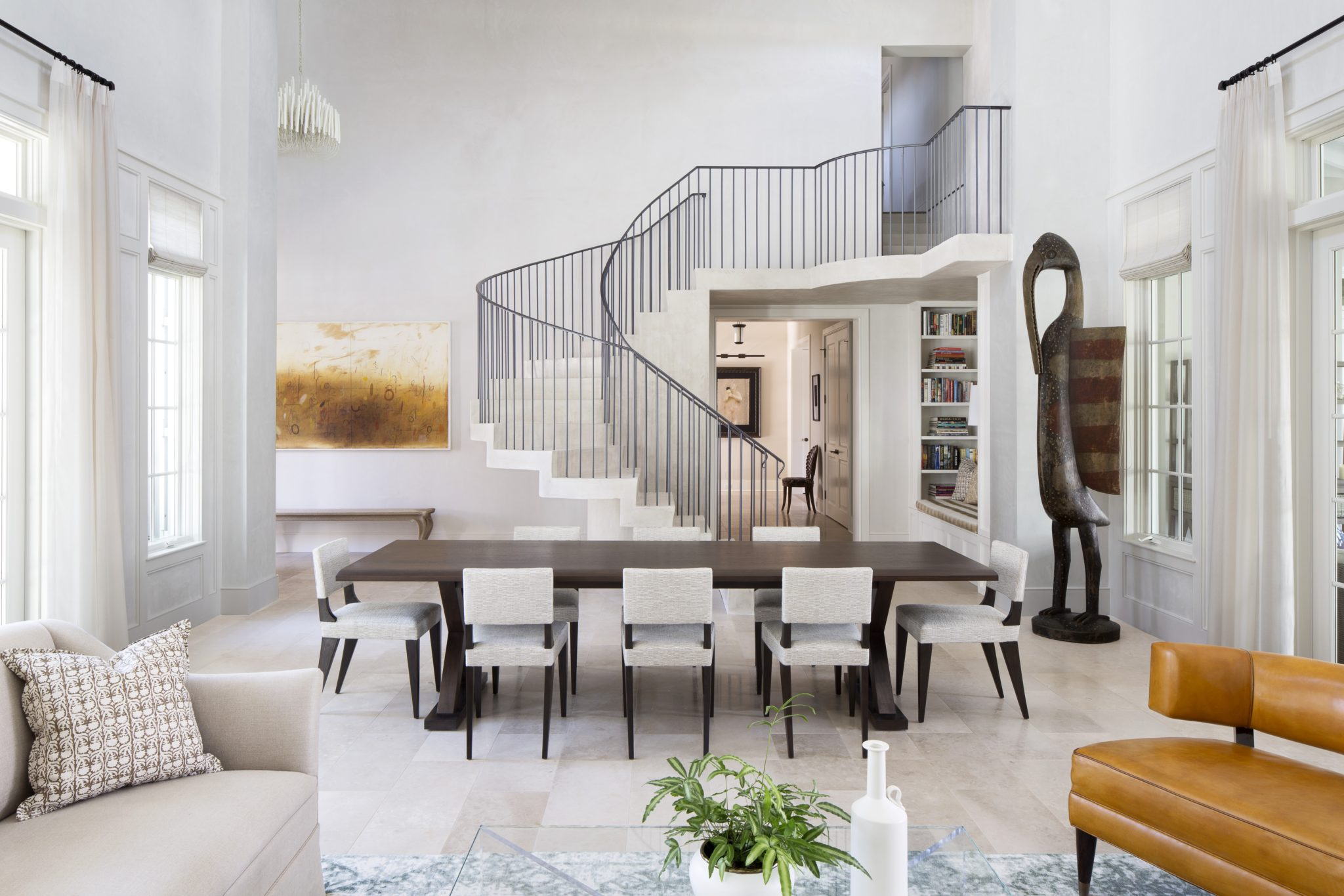 Artistic open concept living and dining room - Vero Beach, FL, by Greer Interior Design
