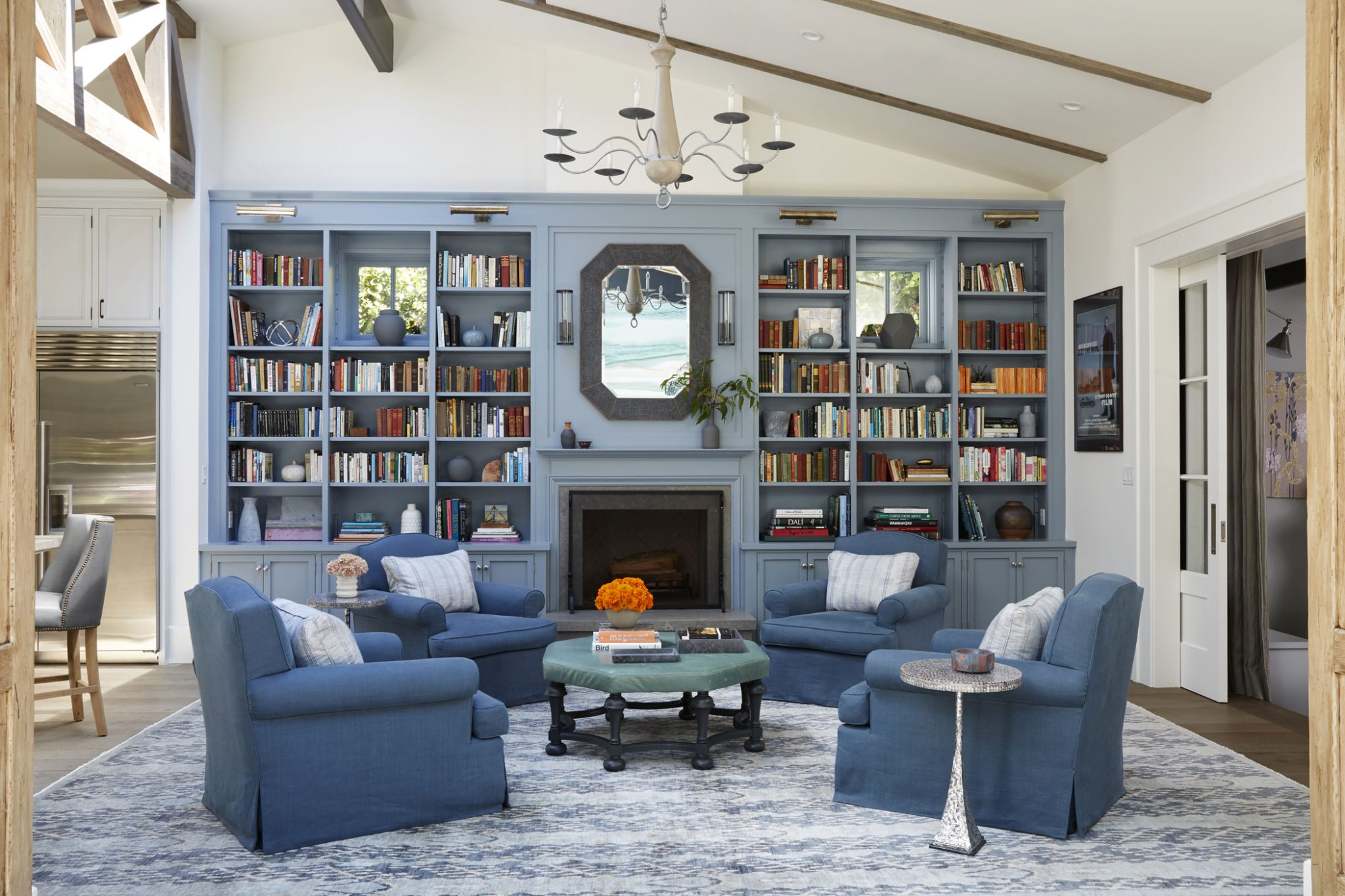 Family Room in a Ranch House Renovation by Tim Barber Ltd.