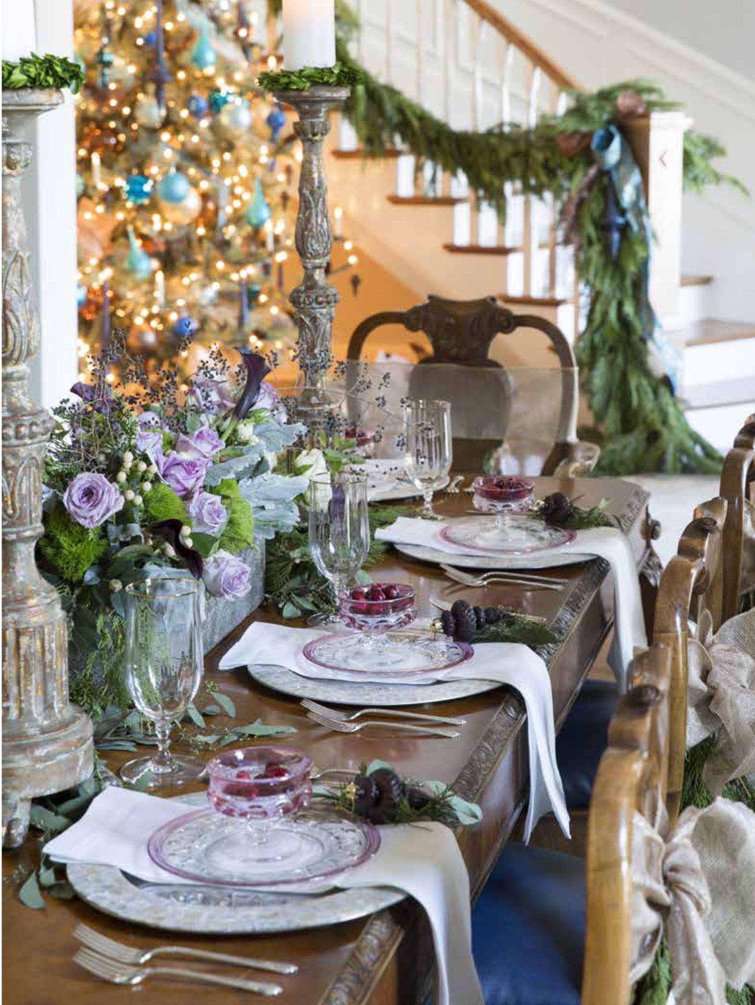 Dining room tablescape vignette set for Christmas dinner. by Cindy E. Barganier Interiors LLC