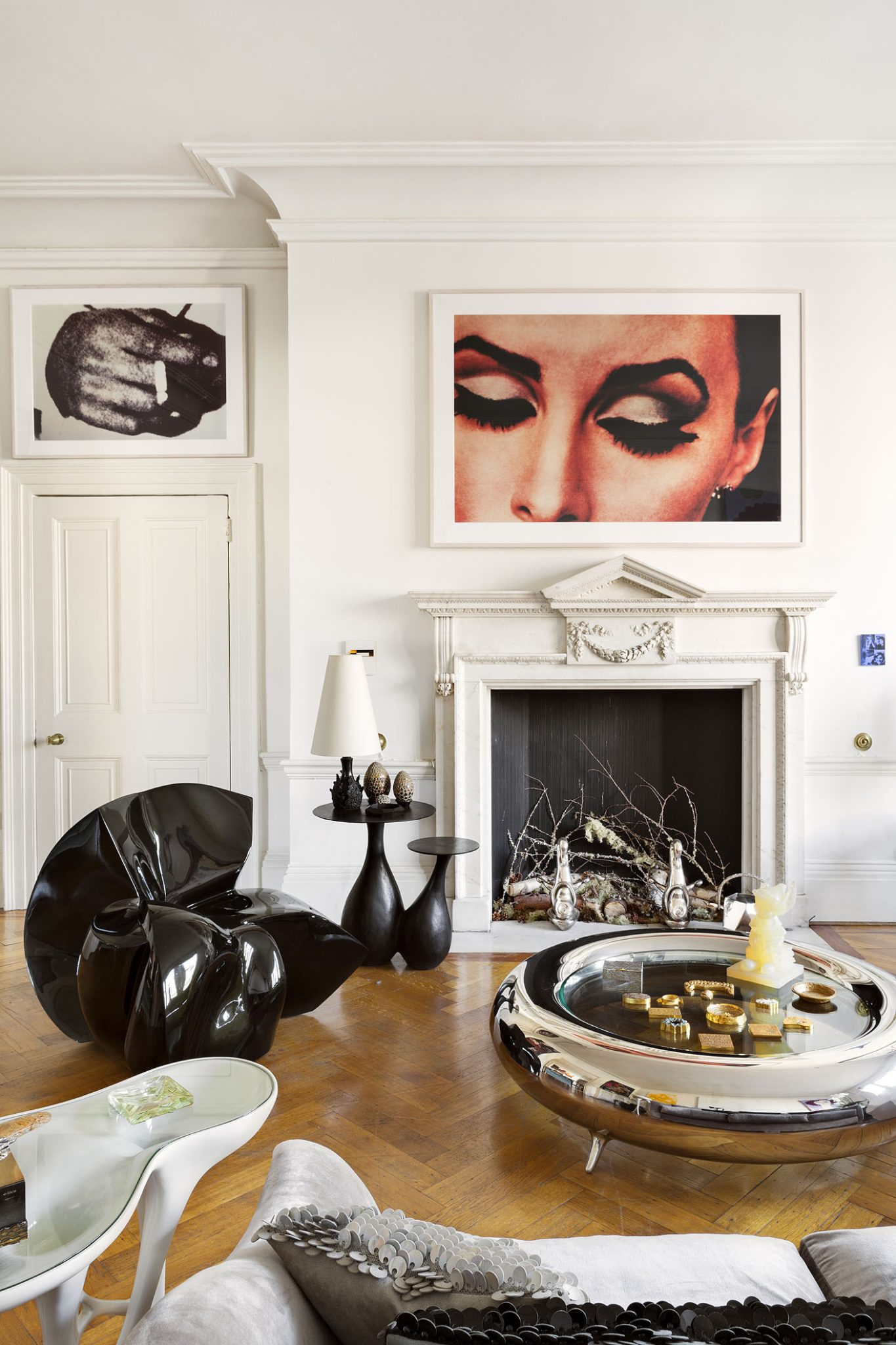 Eclectic Living Room with Modern Artwork by Francis Sultana