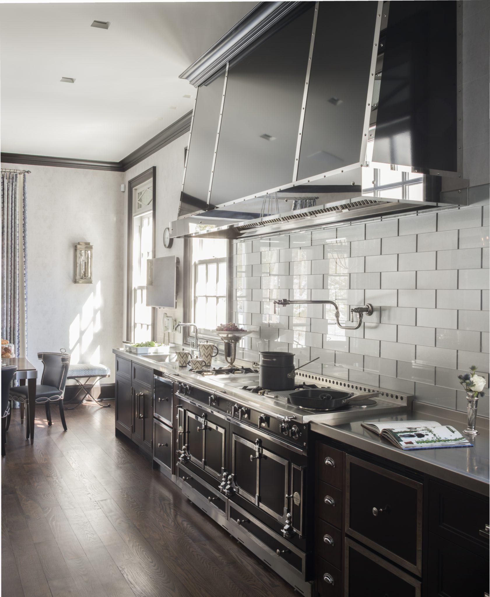 Black and White Kitchen, Greenwich by Rinfret Limited Interior Design & Decoration LLC