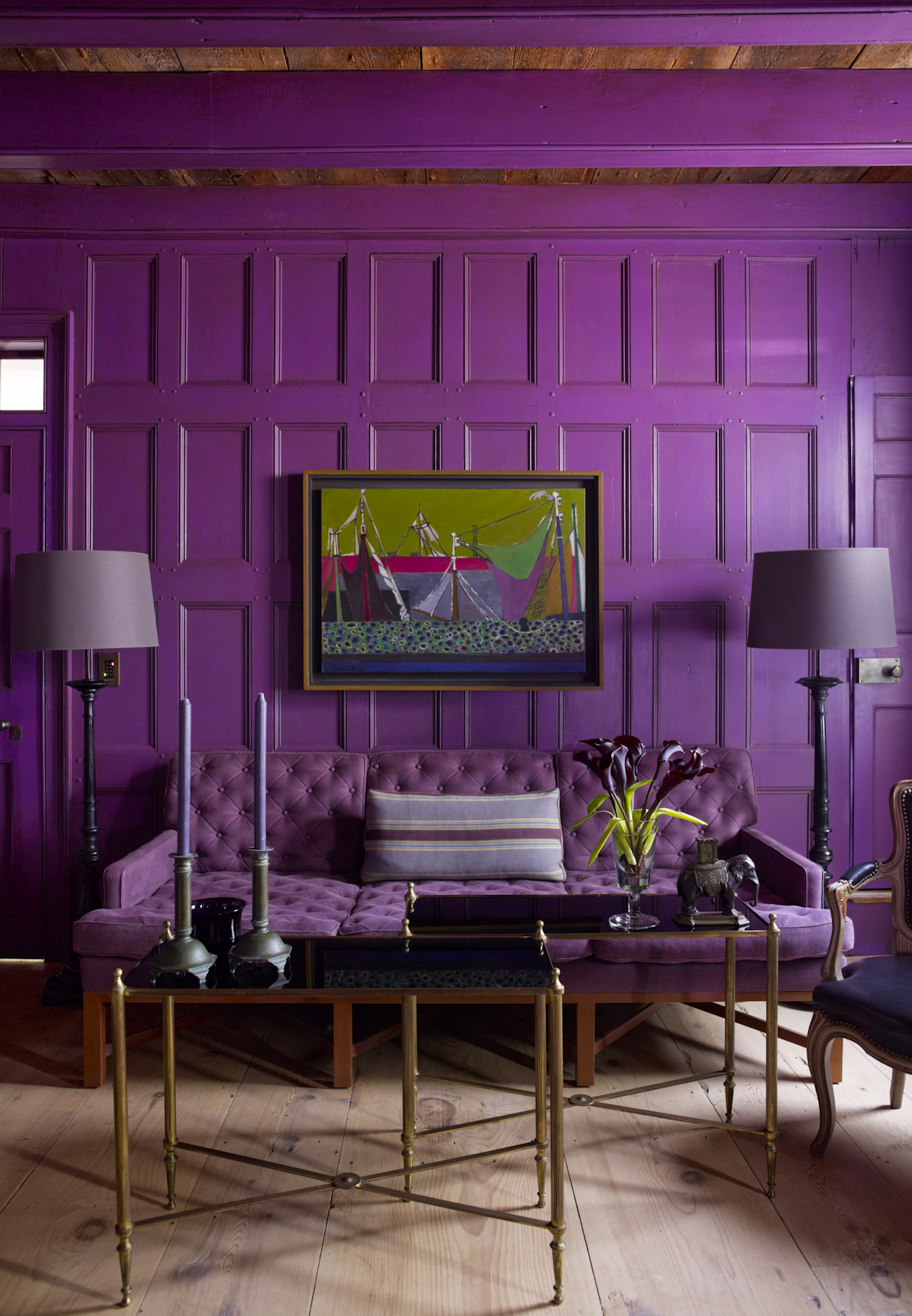 """1. Bold, Monochromatic Color Palettes   Whether with saturated blues, purples, or reds,more designers are embracingbold, monochromatic color palettes. """"The color palette feels strong and masculine, and impactful, yet modern and unexpected,""""saysSteven Gambrel. """"I think bold, monochromatic color palettes appeal to modern-day sensibilities of a more simple environment. It seems like the overuse of very neutral environments has been countered by these impactful rooms; plus,both work together in projects.""""  In the front room of an18th-century waterfront house in Sag Harbor, Gambrel drew inspiration from the past. """"Sea captains liked to show off their wealth so they often embellished the front rooms of their houses,"""" he says. """"Deep saturated pigments were impossibly expensive, so this is a color that simply couldn't have been achieved in a house like this."""""""