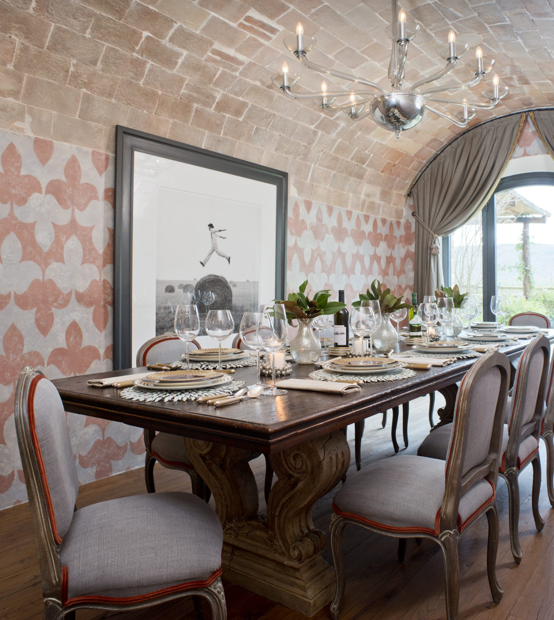Elegant dining made simple. Rich, detailed dark wood touches mixed with pastels by J Banks Design