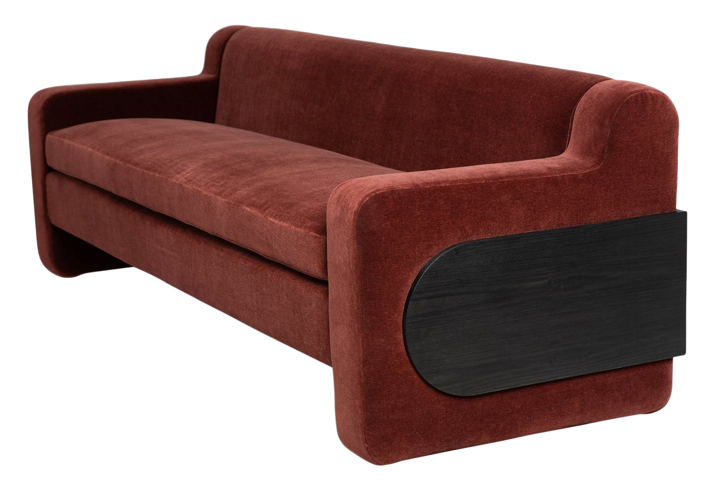 Kingsley Bullet-Wrapped Sofa. Shown inBRADLEYElements Chopin Rootbeer Mohair.Available in COM/COL (18 yds solid / 360 sf). Bullet panel shown in Ebony on Ash. Customize with any BRADLEY fabric, leather, or wood finish.Lead time:8-10 weeks.