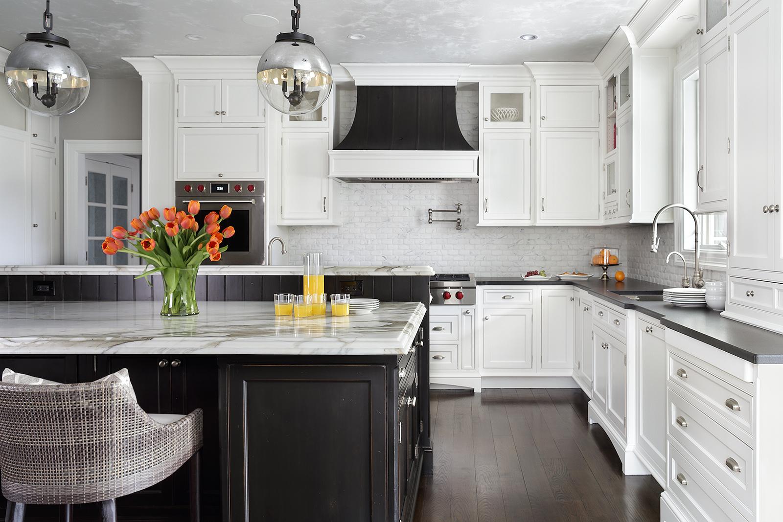 Designer kitchen with metallic venetian plaster ceiling by Valerie Grant Interiors