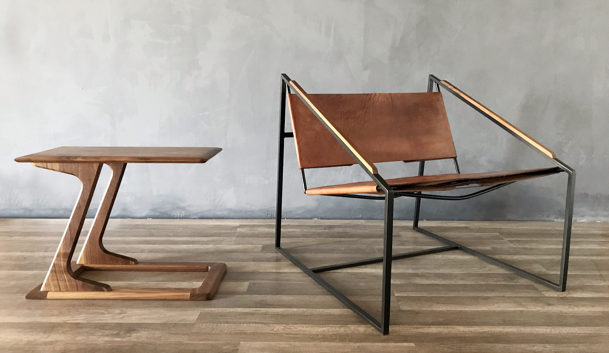 Fluxco Design develops custom furniture and also sources unique vintage pieces. Shown on the right is their LZ Lounge Chair, winner of the 2018 Good Design Award.