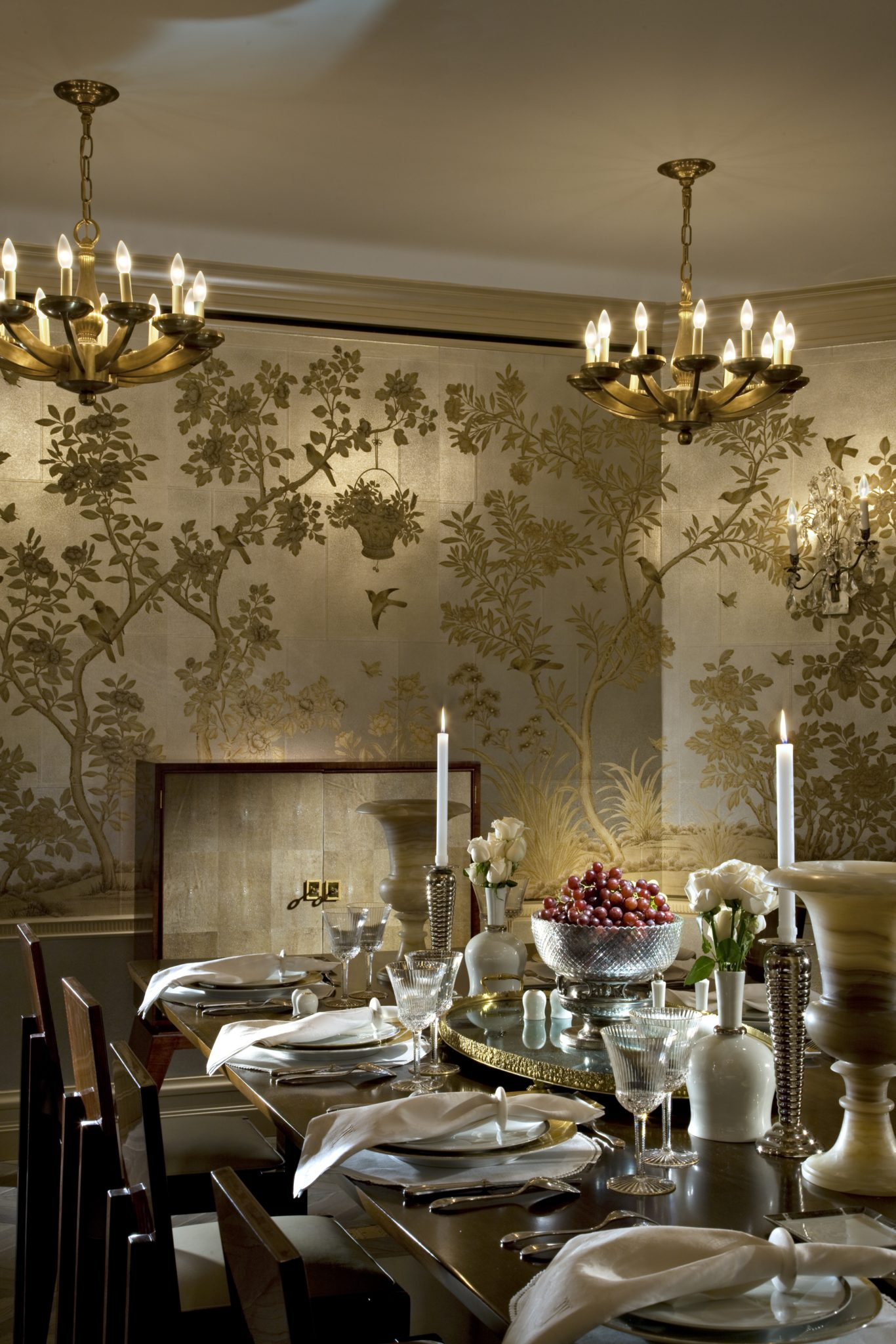 gracie wallpaper so versatile with contemporary furniture by Penny Drue Baird - Dessins LLC