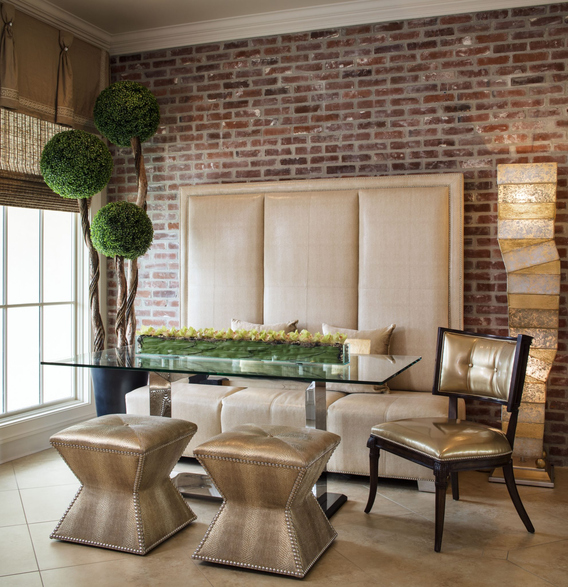 "Bringing in Banquette Seating   Restaurant design is a great resource to gather ideas for residential design and can provide several edgy solutions, according to Monique delaHoussaye-Breaux, president and principal designer of POSH Exclusive Interiors.  Widely used in restaurant design, banquette seating is used in residential spaces — like in breakfast areas and open-concept kitchens across all design styles. ""Banquette designs are my go-to when interior space is limited,"" says delaHoussaye-Breaux, who often uses the style in residential high-rise and condo environments.   ""I think one of the easiest trends to translate from bar and restaurant design to residential projects is the combination of banquettes and chairs in dining areas,"" says Quach of Workshop/APD."
