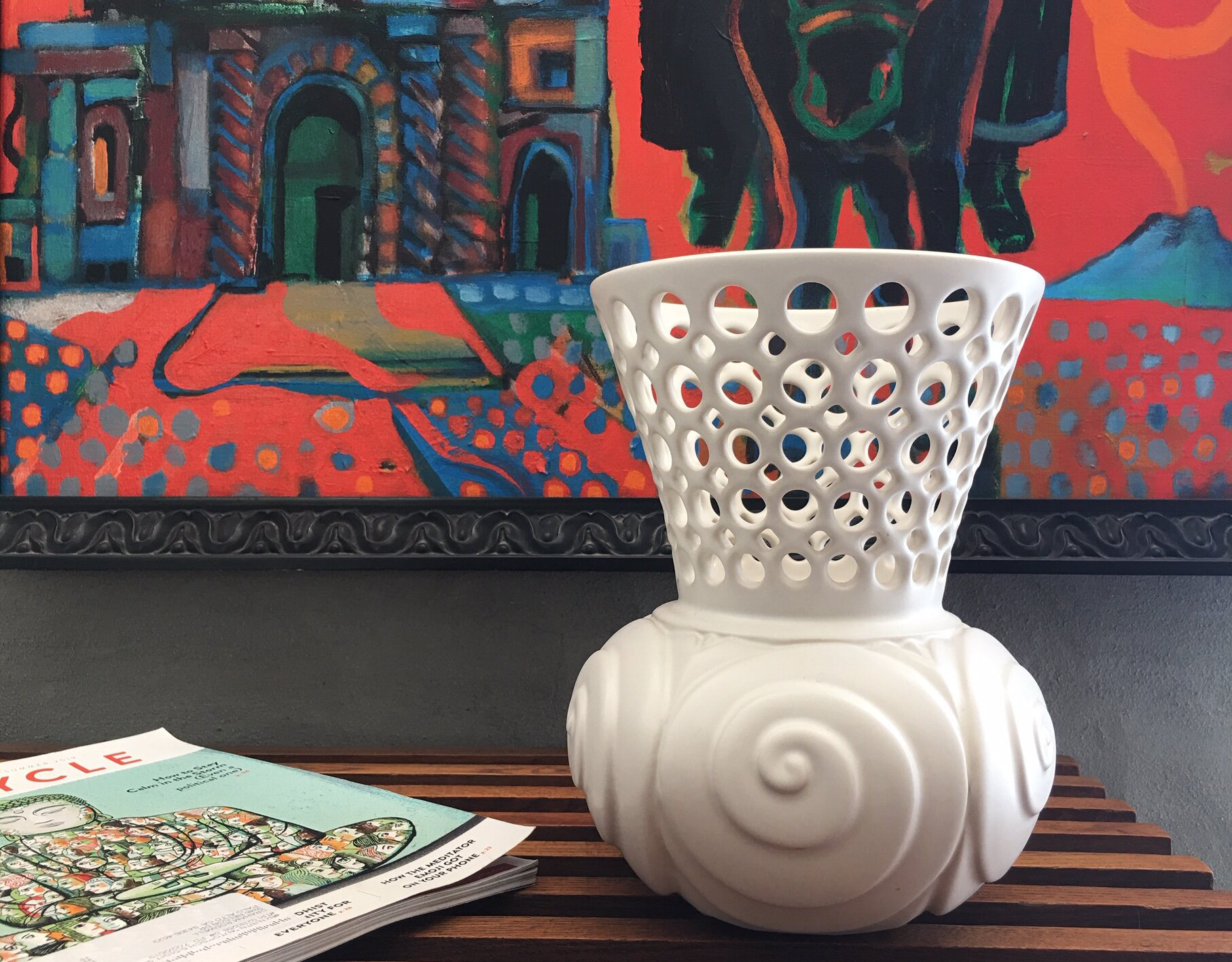 Lynne Meade's intricate ceramics include pierced vases and bowls, stylishly carved vessels, and unique artisan-made tiles.