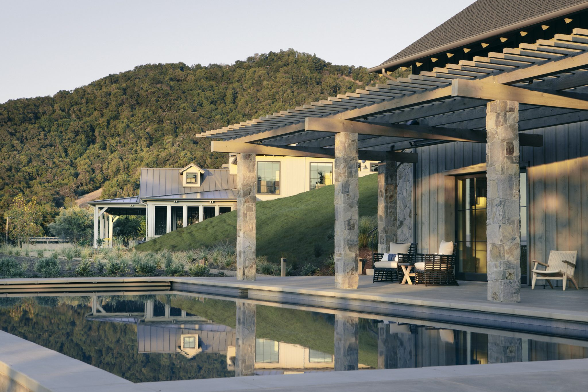 The trellis also helps to visually connect the pool area to the main house.