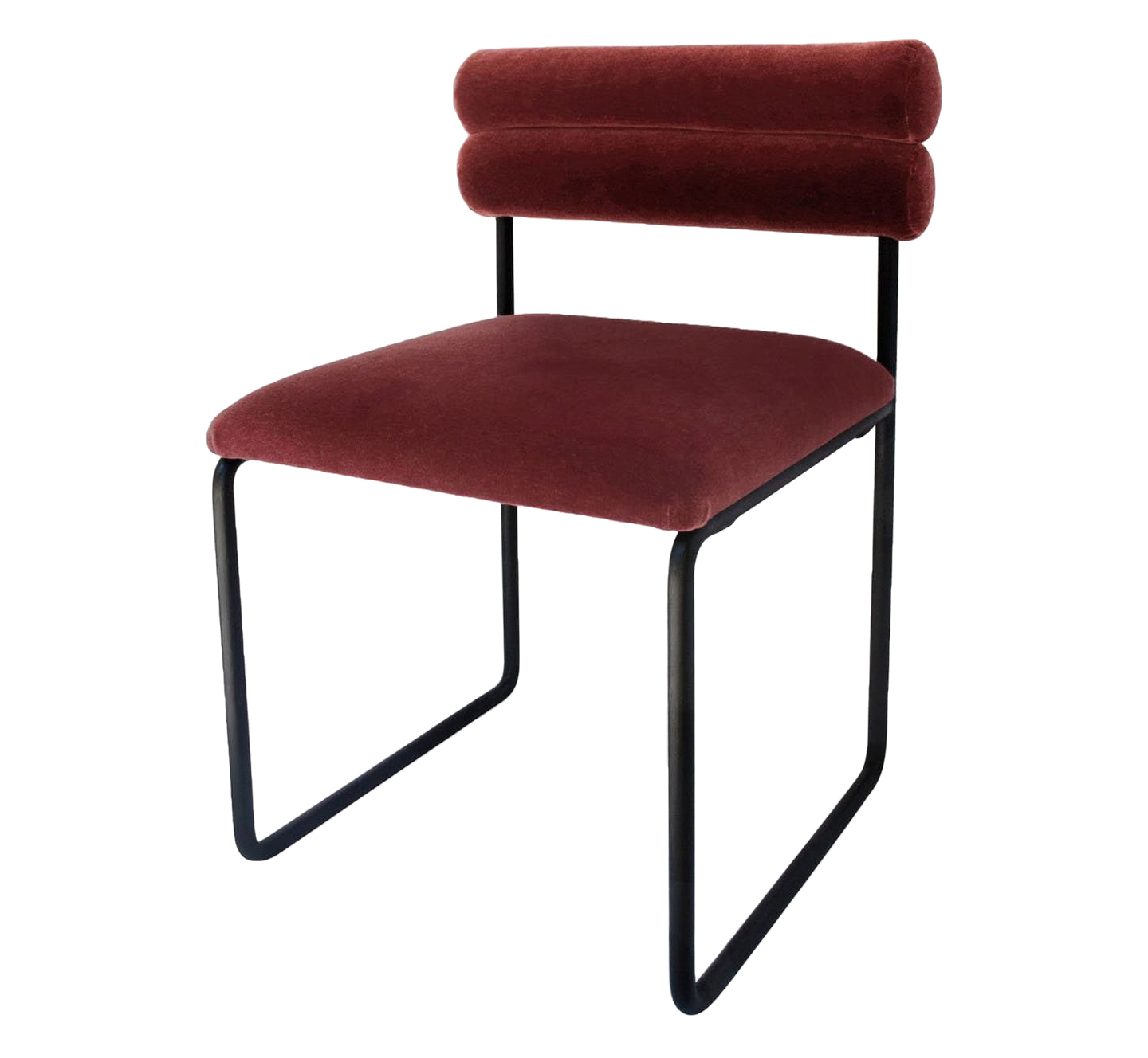Bobby Double Bolster Dining Chair.Available in dining height, counter height, and bar height. Shown in BRADLEY Elements Chopin Rootbeer Mohair.Available inCOM/COL(2 yds solid / 40 sf).Base Finish: Satin Black,powder coated. Lead time:8-10 weeks.
