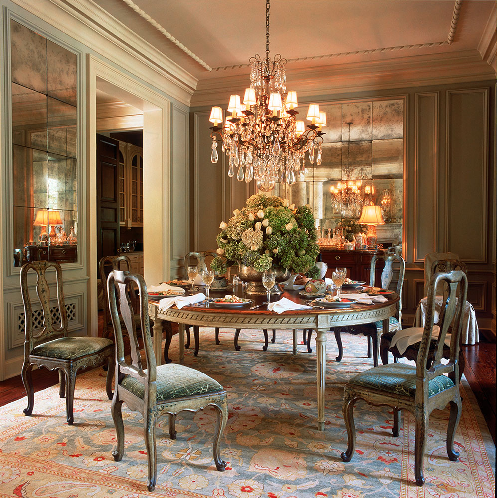 Painted paneled Dining Room in an Italian Villa. by Ken Tate Architect