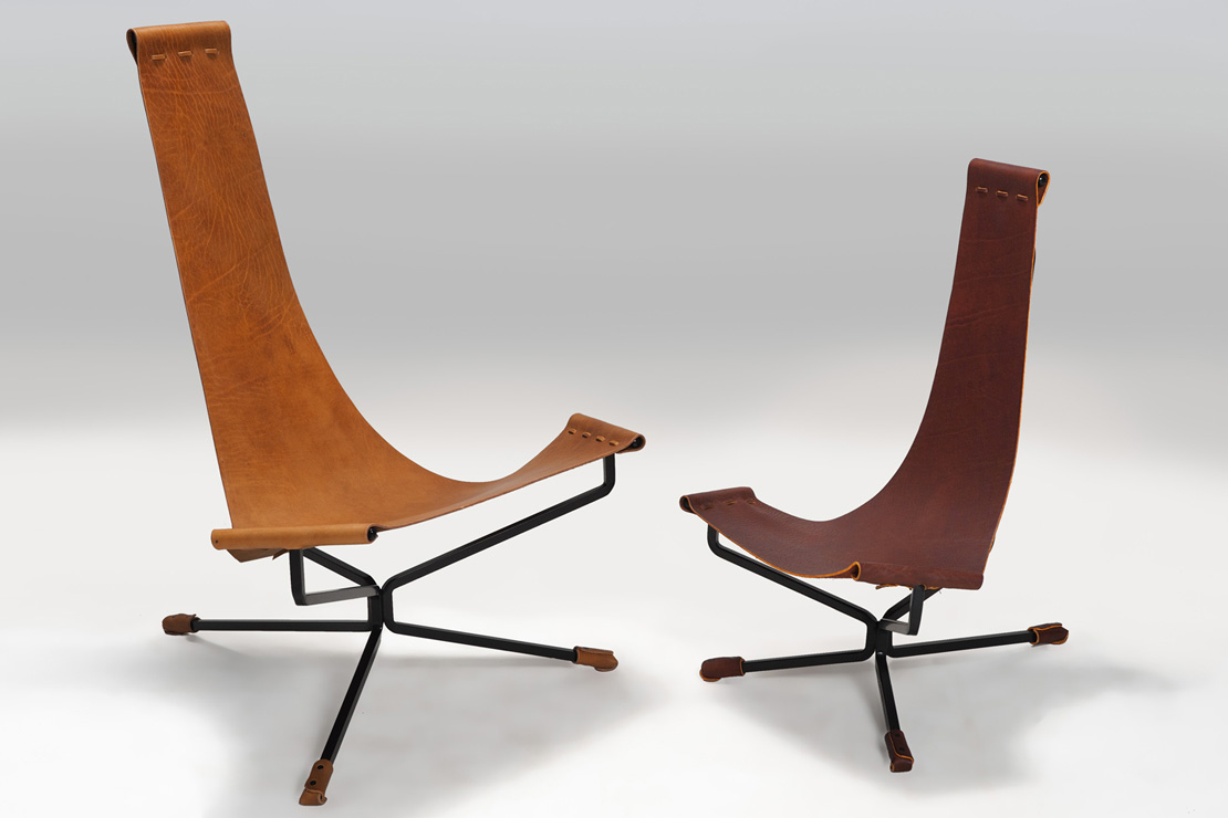 Known best for his Lotus Chair from 1969, Daniel Wenger ofWenger Designshas returned to furniture design and fabrication, working with his son Samuel in Santa Cruz, California. Together, they craft a variety of pieces from solid steel and hand-pickedleather hides, including chairs, stools, andtables.