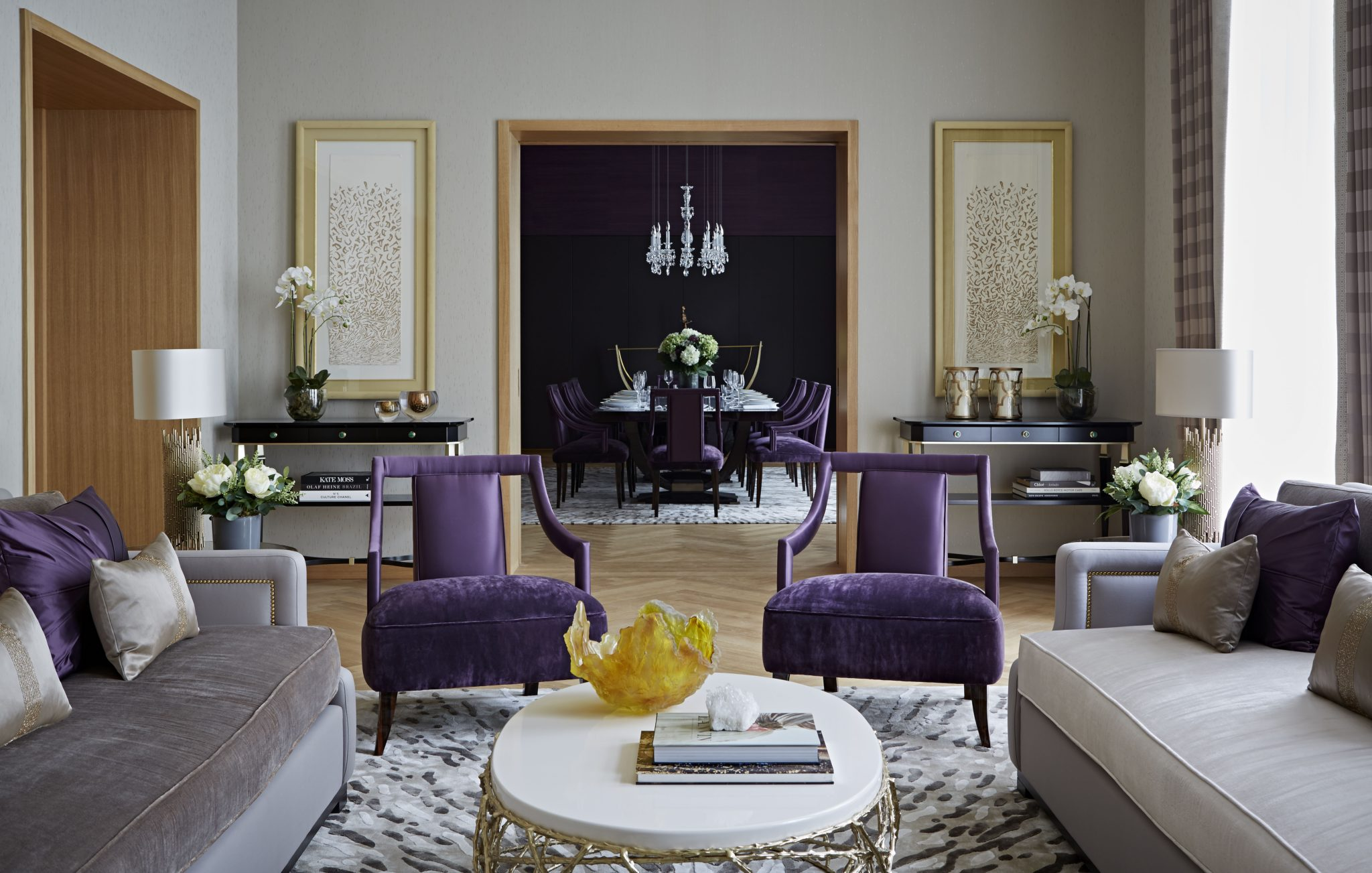 One Kensington Gardens, Kensington, London - Living Room & Dining Room by Taylor Howes