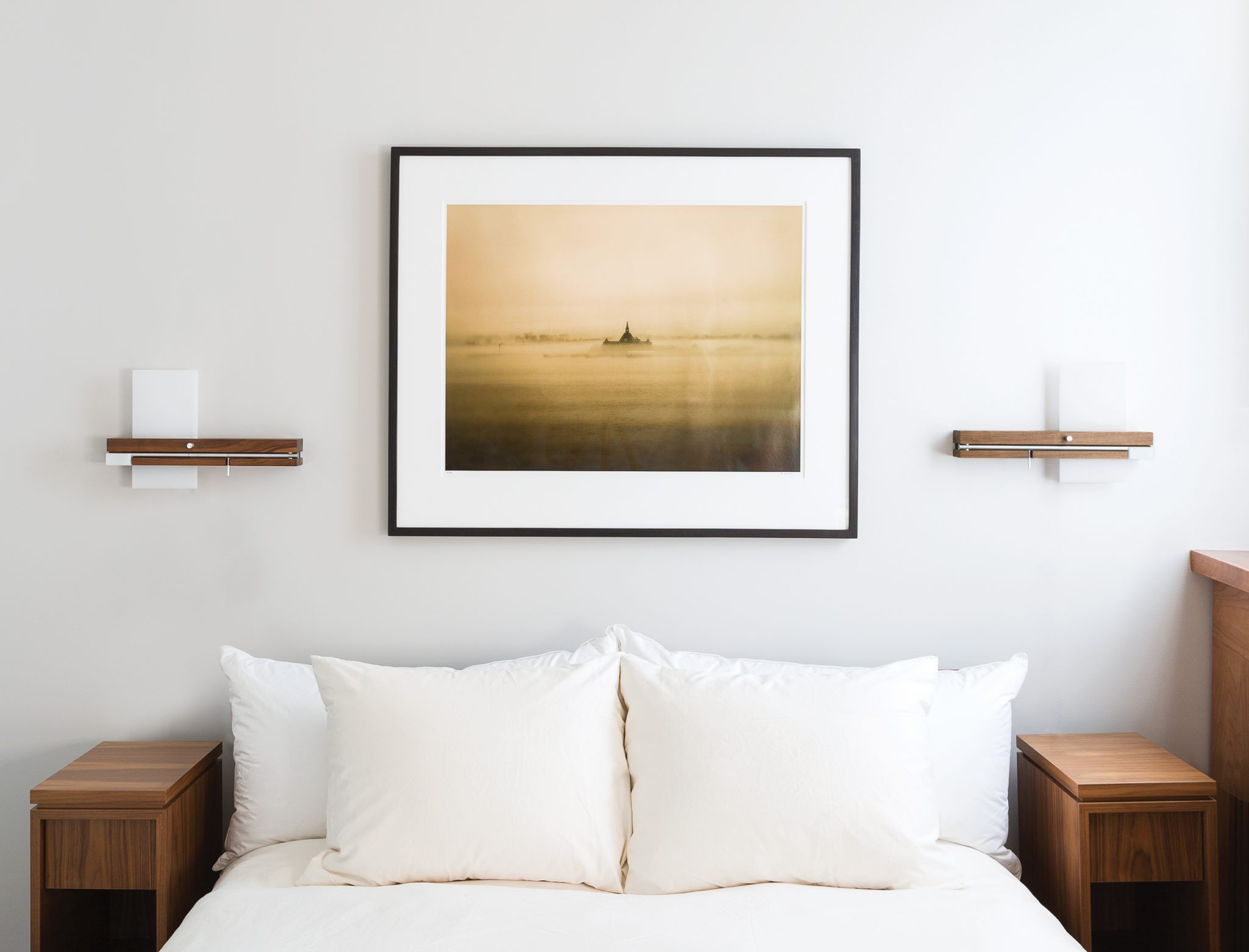 Founded by three friends who grew up in Laguna Beach, Cerno develops sleek, chic modernist lighting; shown is their Levo Bedside Sconce.