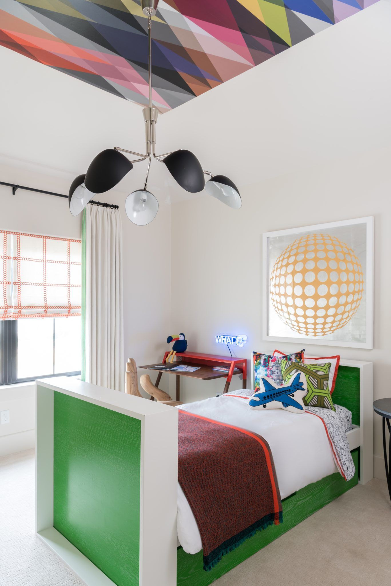 Boy's Bedroom with custom wallpaper ceiling by Laura U, Inc.