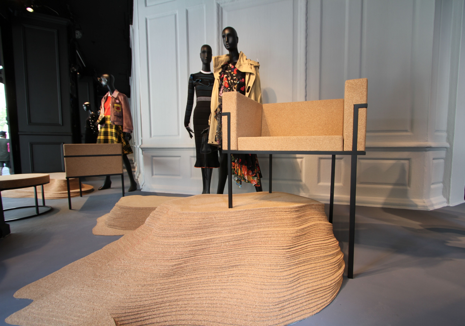 Eugene Stoltzfus develops unique seating, tables, beds, and more usinginventive materials like cork; shown is the Lisbon Side Chair.