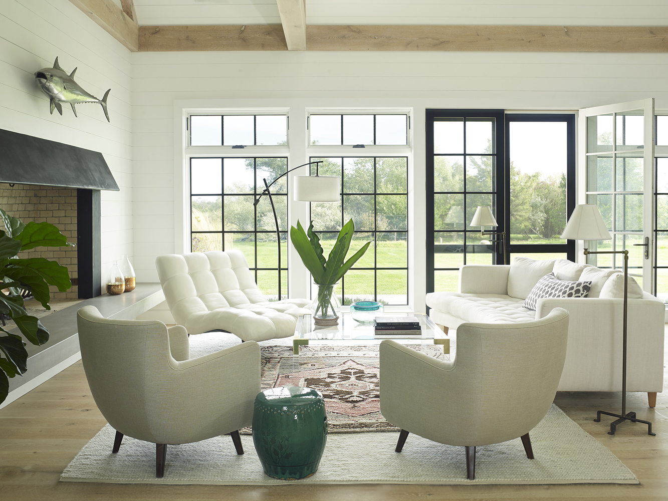 Living Room with Exposed Beams by Austin Patterson Disston Architects