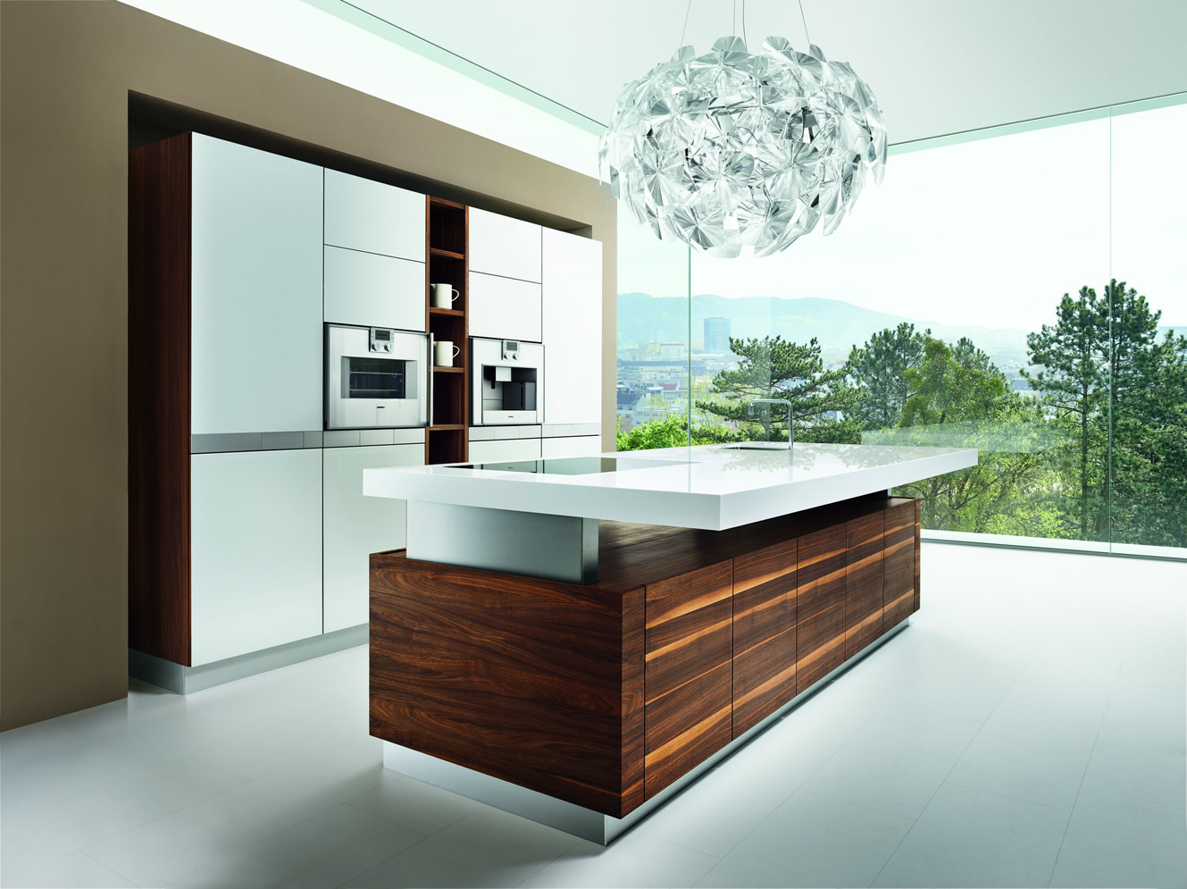 Contemporary Team 7 K7 kitchen with white and natural wood cabinetry by German Kitchen Center