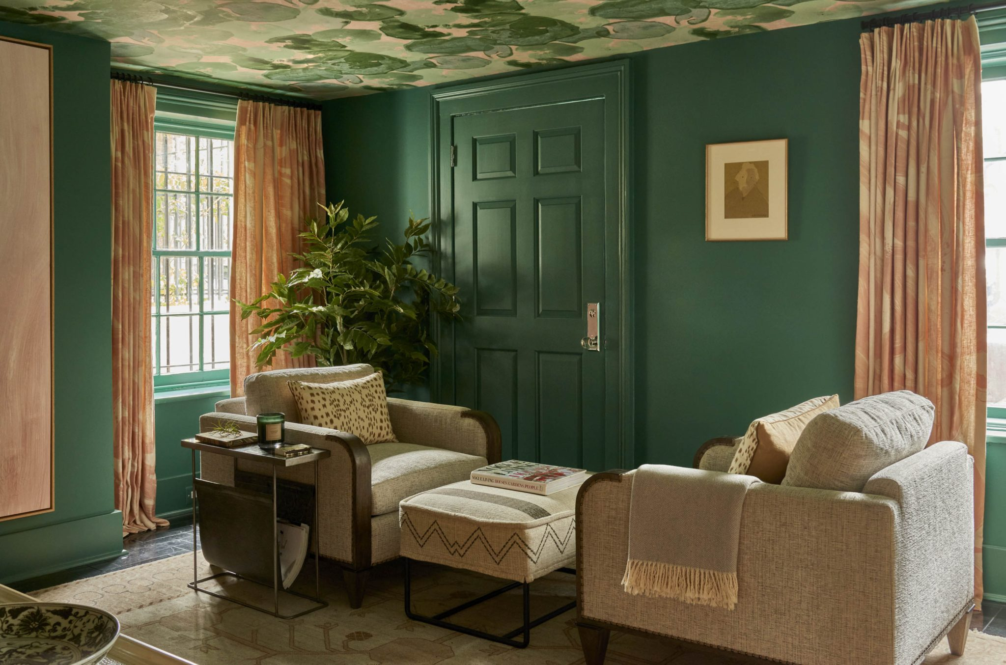 Sitting Area in Shades of Green & Blush by Denise McGaha Interiors