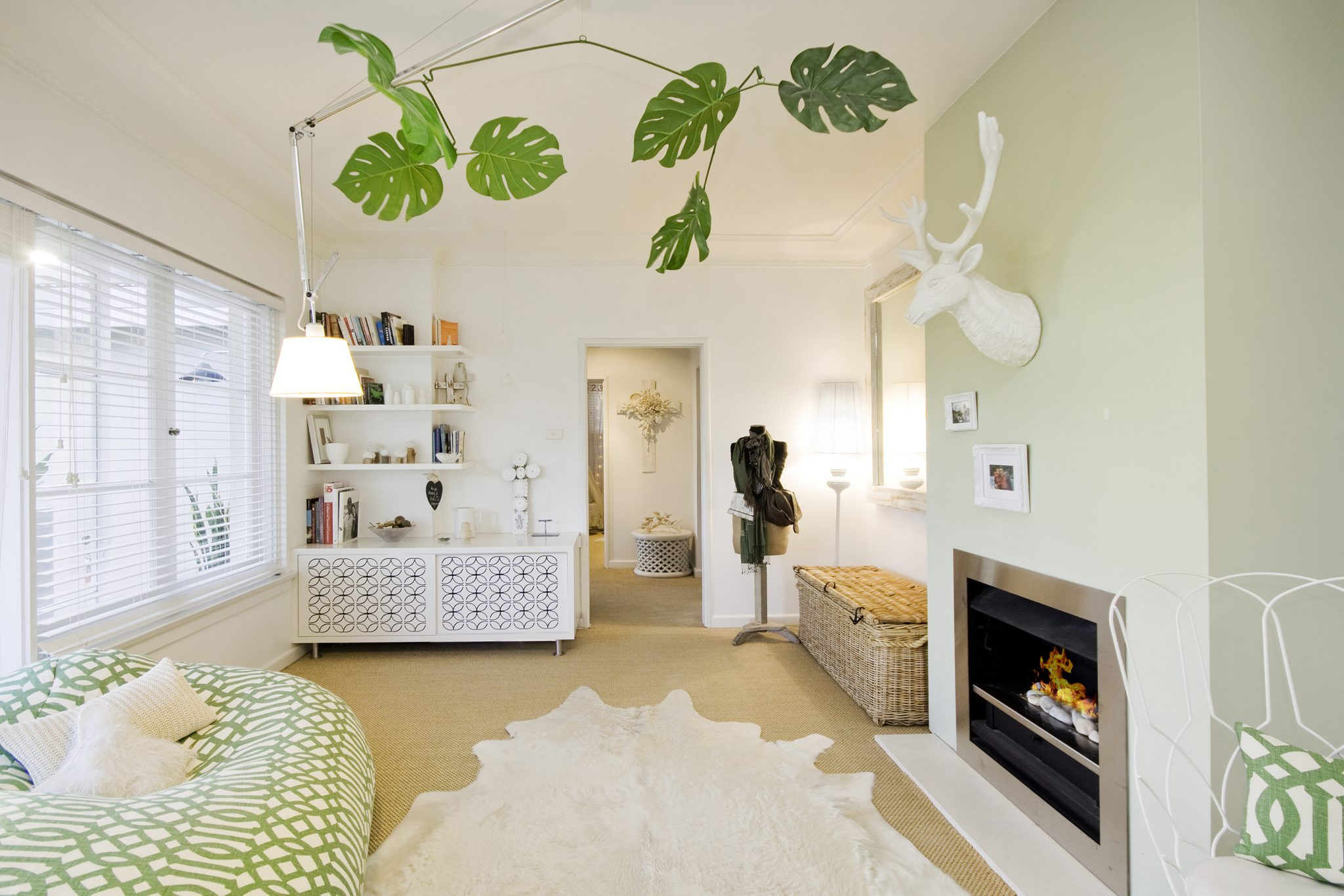 Tree Top living with a simple green and white palette. by Bronwyn Poole by Touch Interiors