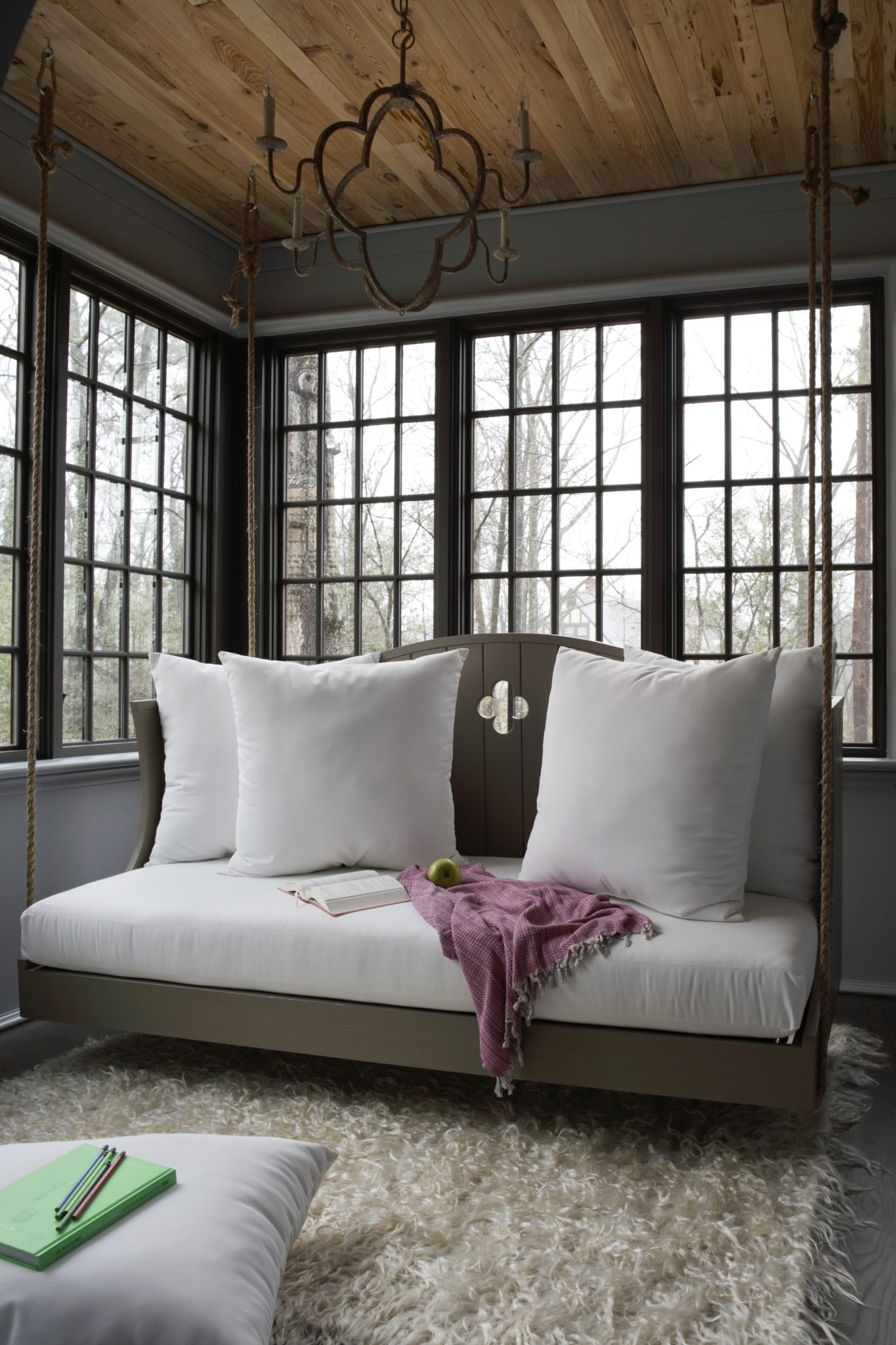 Christopher Architecture & Interiors designed the swing, which was then crafted by Southern Komfort Bedswings.
