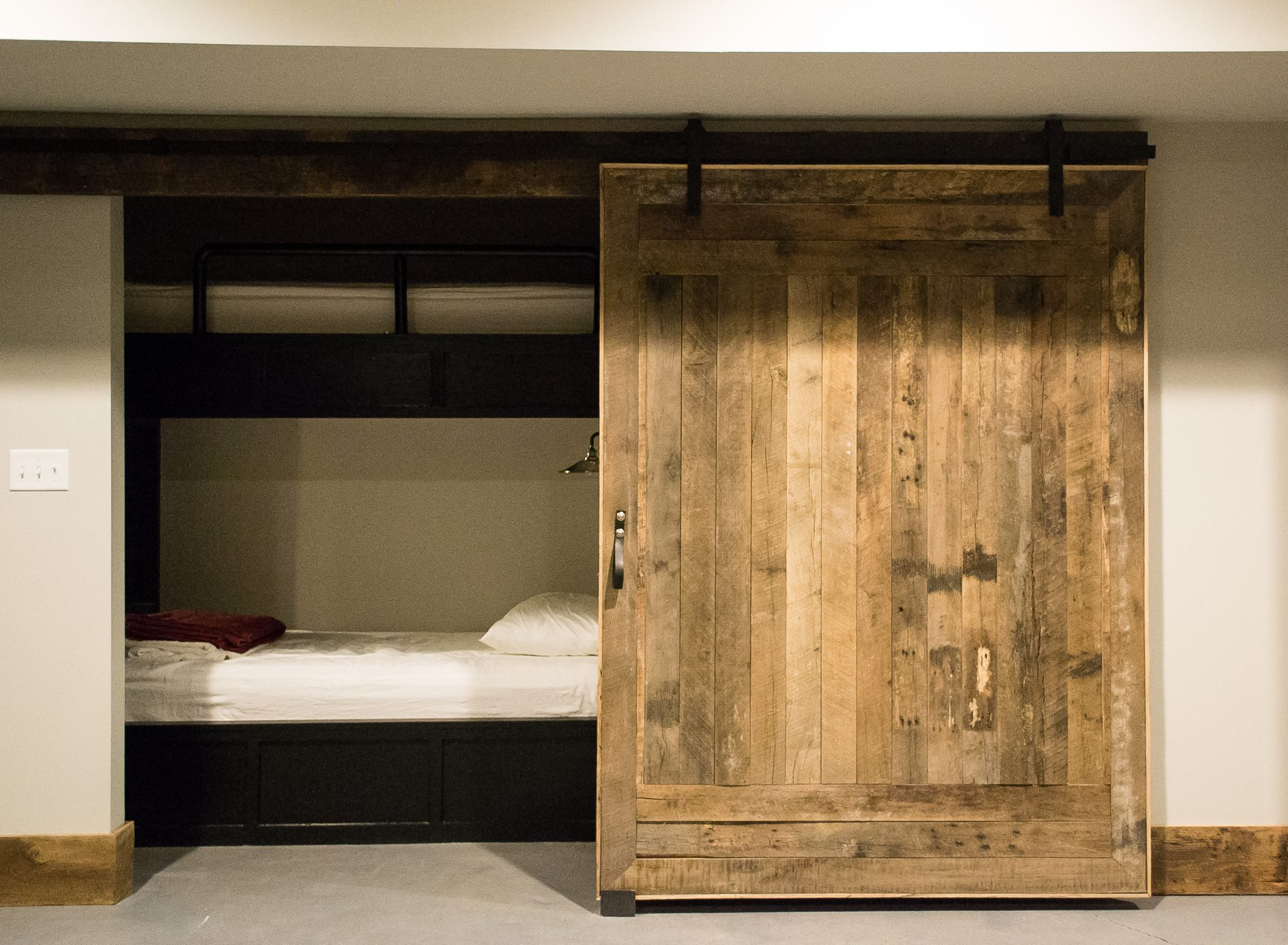 Private Residence, Sliding Reclaimed Barn Door to Sleeping Nook by Evolutia