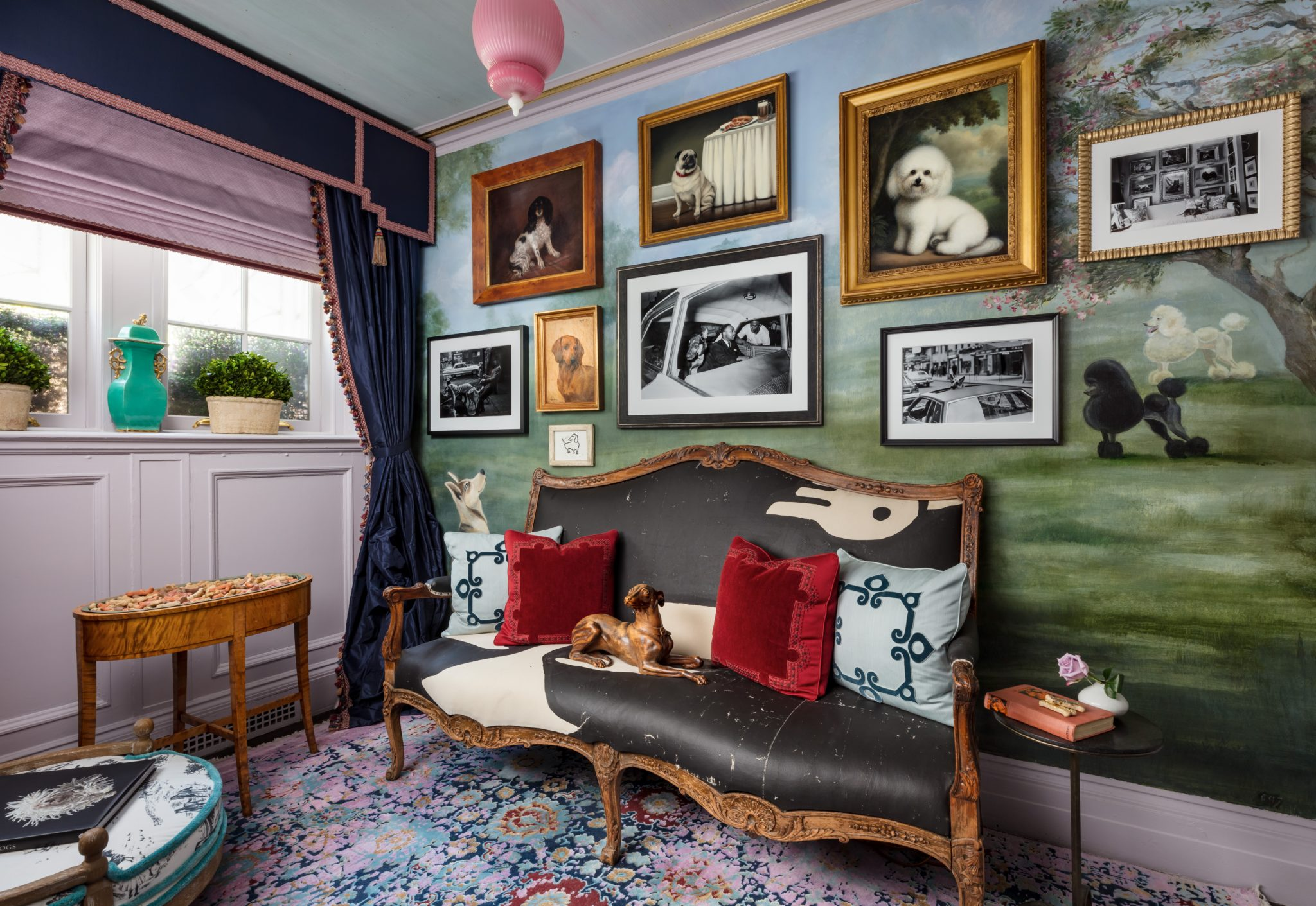 """For this recepton area titled """"Le Salon Des Chiens,""""the team atSheila Bridges Design Inc.envisioned a colorful space that would celebratethe multi-faceted relationships between humans and dogs."""