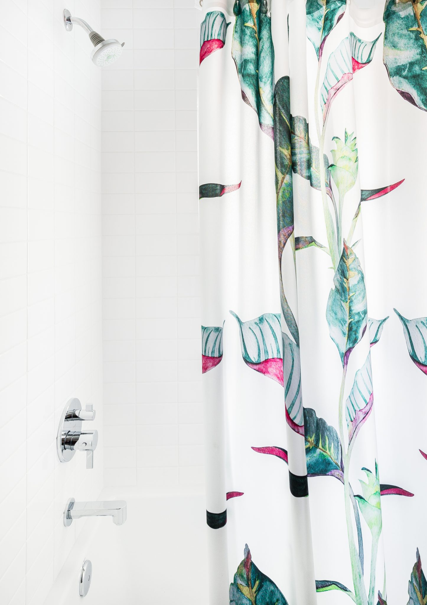 The colorful shower curtain in the children's bath is from AllModern.