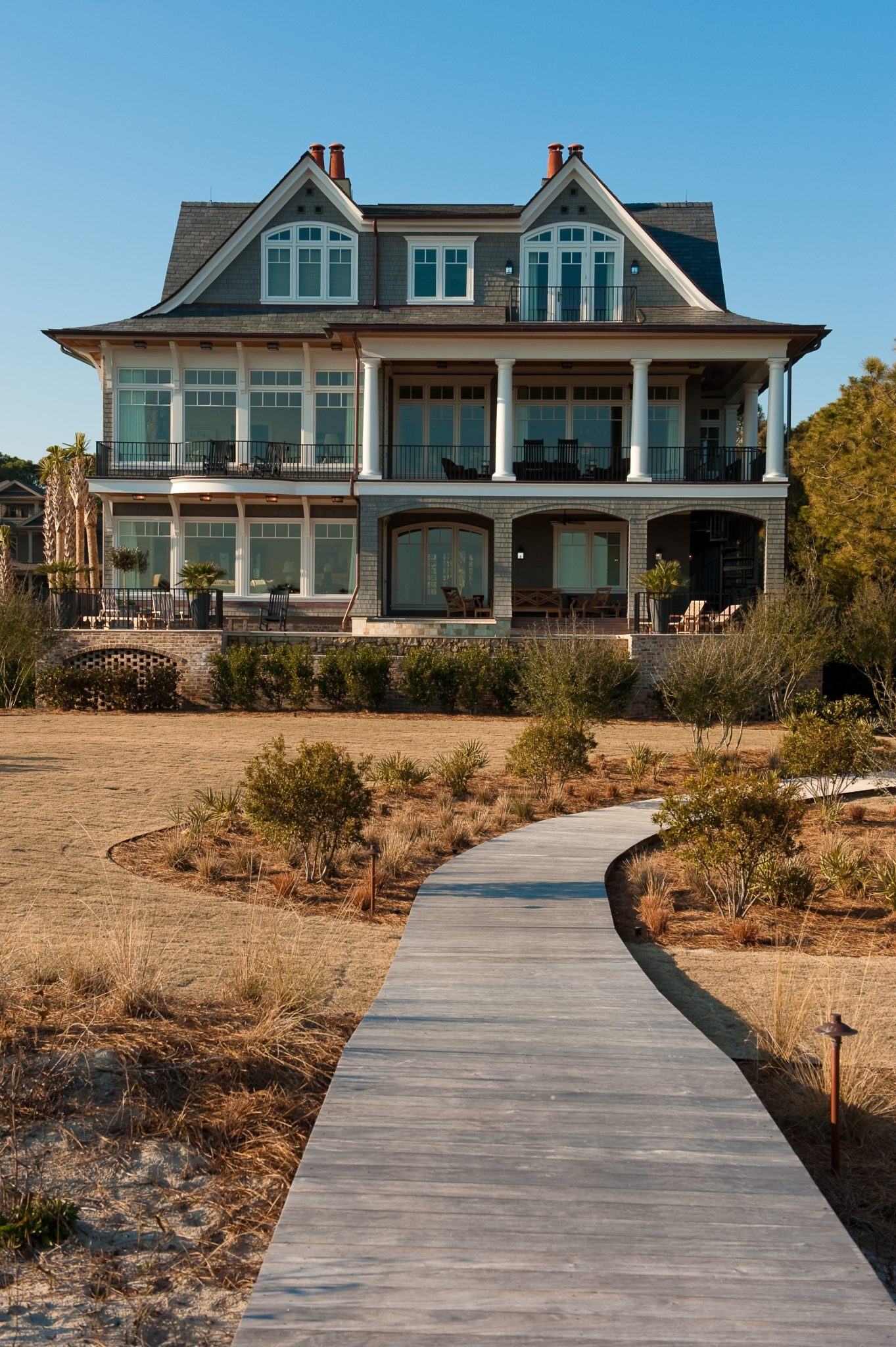 Kiawah Oceanfront Shingle Style Rear Elevation with Loggia and Boardwalk by Island Architects