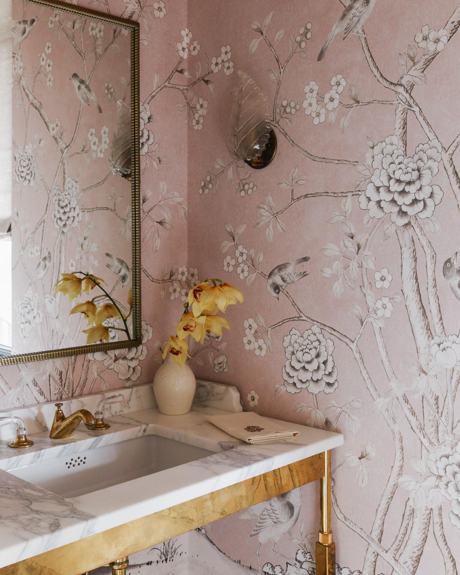 A pretty, feminine powder room by Charlotte Lucas Interior Design.