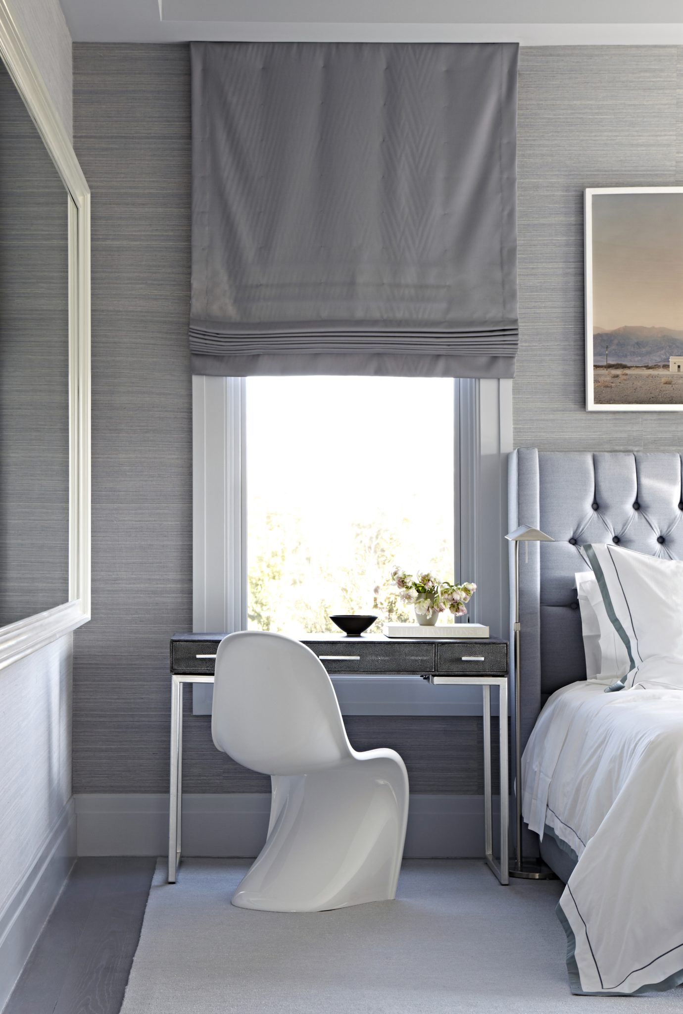 Desk in serene and inviting guest bedroom in The Hamptons, Quogue by Tina Ramchandani Creative