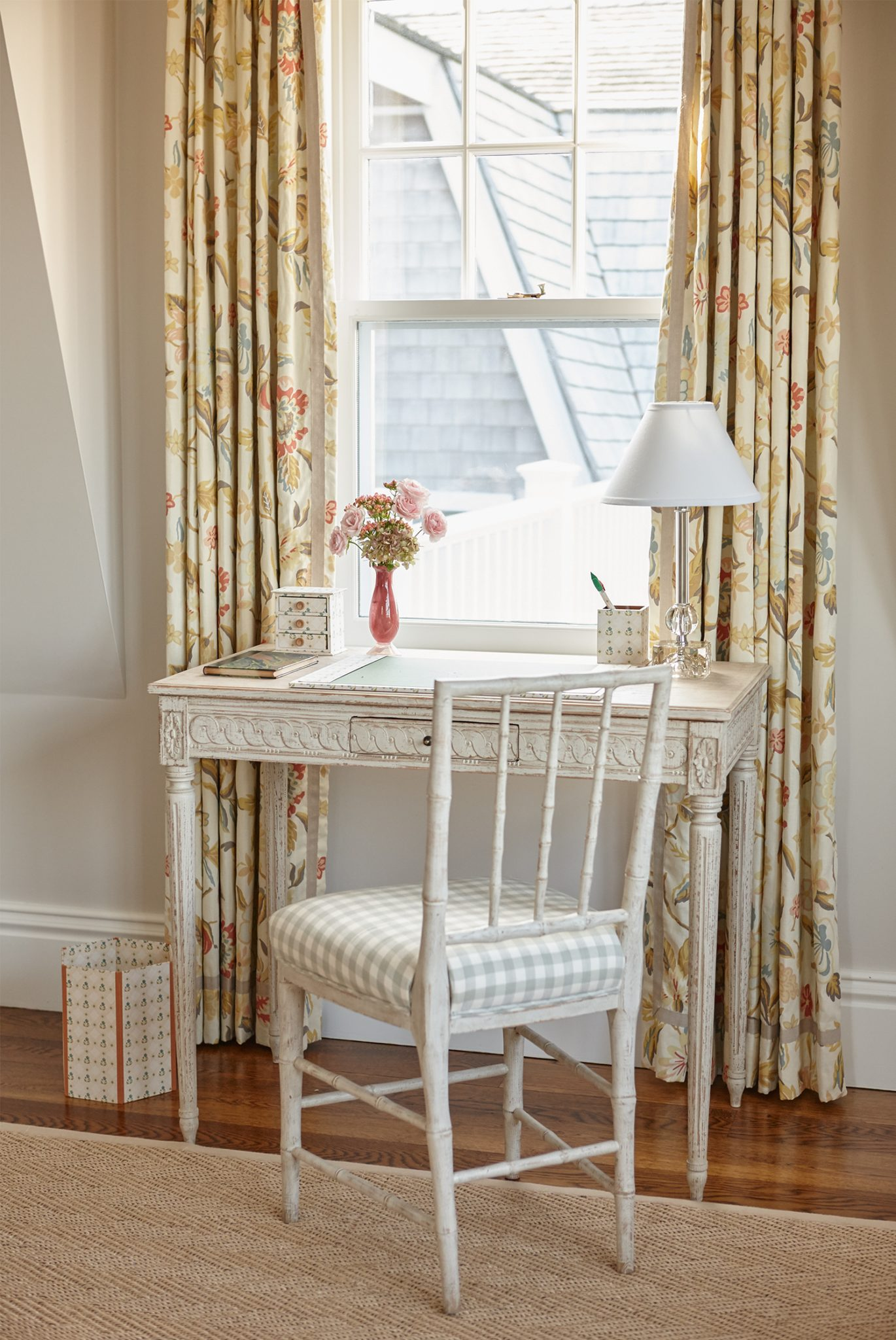 Beach house Bedroom with a Gustavian style desk and bamboo chair by Liliane Hart Interiors