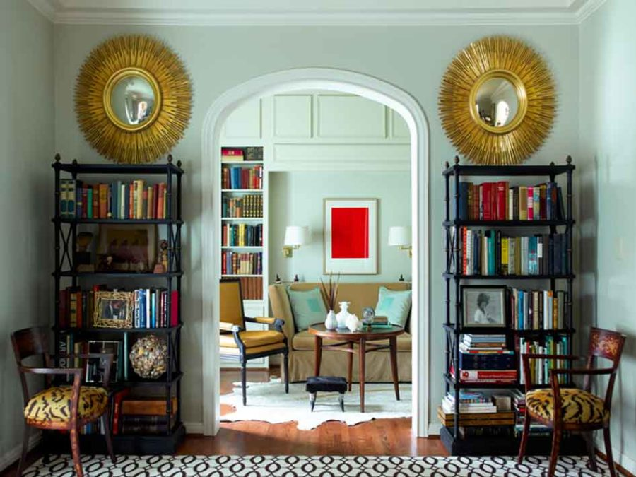 Hollywood regency style in a living room