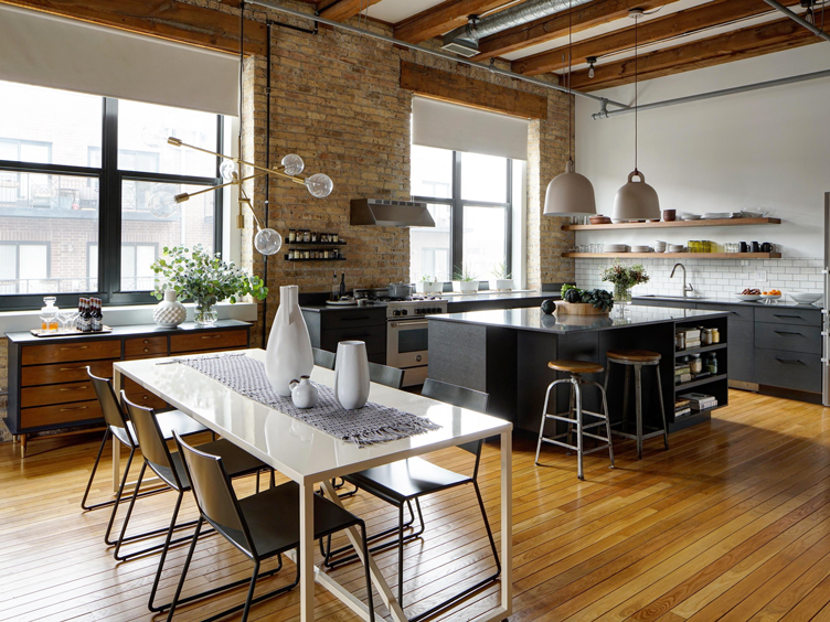 This image has an empty alt attribute; its file name is chicago-renovated-loft-open-concept-kitchen-and-dining-room-area-gray-and-white-2321.jpg